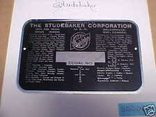 Studebaker Screen Printed Aluminum Data Plate Rectangle
