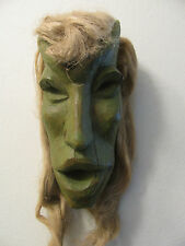 Vintage Antique African? Wood Mask Long Face Green Painted Real Hair