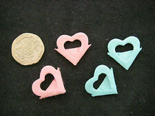 Job Lot 40 MULBERRY HEART CORNERS 2cm PINK Blue NEW Bargain CRAFTROOM CLEAROUT