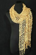 B158 Full Sequin Open Weave Bright Gold Fringe Scarf Shawl Wrap Boutique $145