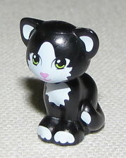 LEGO NEW BLACK CAT ANIMAL KITTEN WHITE MARKINGS SITTING FRIENDS PART