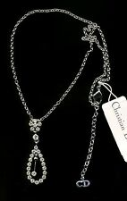 Signed Christian Dior Necklace Rhodium set Pave Crystal Pendant New