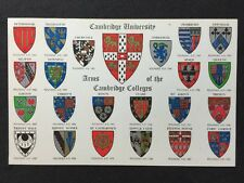 Vintage Postcard - Cambridgeshire #13 - Arms Of The Cambridge Colleges - Salmon