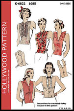 1085 HOLLYWOOD Vintage 1940s DICKEY'S Fabric Sewing Pattern 1 CROCHETED