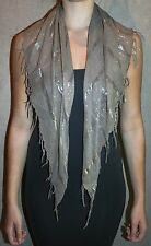 ladies triangle scarf taupe & metallic silver stripe fringe glitter light cool