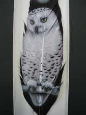 Moonlit Snowy Owl - Russ Abbott Hand Painted Feather - COMMISSIONED