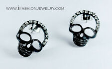 Bling Gothic Black Skull Head Stud Earrings Chic Ghost Punk Rock Crystal Jewelry