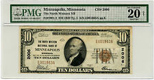 1929 Series The North Western National Bank of Minneapolis MN $10 PMG Certified