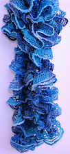 Handmade Knitted Frilly Lacy Boa Scarf; Color: Midnight Blue Shimmer