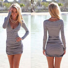 Striped Lady Sexy Bodycon Slim Long Sleeve Mini Dress Casual Short Clubwear D001