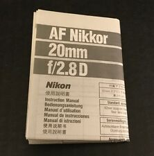 Nikon AF Nikkor 20mm f/2.8D Lens - User Instruction Manual (English)