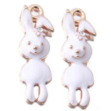 20pcs Wholesale White Enamel Gold Plated Rabbit Charms Alloy Pendants Jewelry J