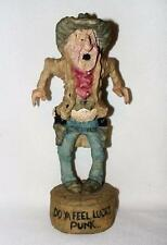 "WESTERN WHIMSICAL COWBOY FIGURINE WITH SIX SHOOTERS ""DO YA FEEL LUCKY PUNK"" 9"""