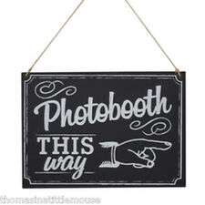 PHOTOBOOTH THIS WAY blackboard  style wedding directional sign wedding party dec
