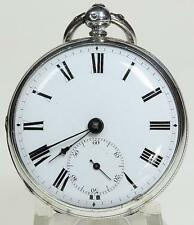 Solid sterling silver English fusee lever pocket watch 1874 cleaned & working