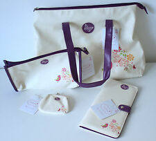 Tote Bag Matching Make-up Cosmetics Bag Purse & Travel Wallet in Cream & Purple