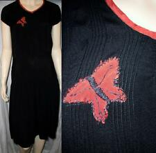 MED~Antique 20s-30s Black Silk Crepe Dropped Waist Dress Red Butterfly & Trim~GU