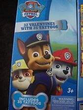 PAW PATROL 32 VALENTINE CARDS W/35 TATTOOS~FOR AGES 3+~NEW IN PACKAGE