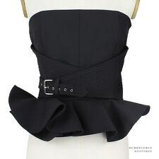 Bouchra Jarrar Ruffled Wool Blend Gabardine Black Corset Top UK4 IT36