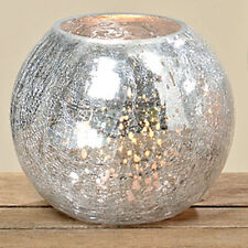 Windlicht Silber D 16cm Teelicht-Halter Kerzenhalter Kerzenleuchter Glas Crackle