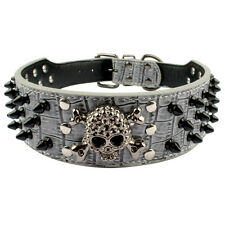 2 inch Wide Skull Rivets Studded Spiked Dog Collars Pu Leather for Pitbull Bully