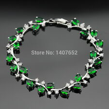 Sterling Silver Green Emerald & White Topaz 11ct Adjustable Tennis Bracelet Leaf