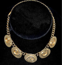 Vintage 1950s Abstract  Embossed Curls on Oval Discs Gold Tone Choker Necklace