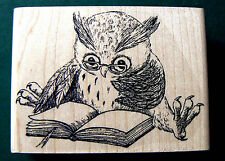 Reading Owl by Natalia rubber stamp WM   P24 small