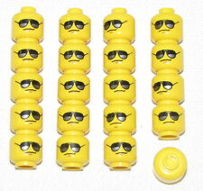LEGO LOT OF 20 NEW YELLOW MINIFIGURE HEADS WITH SUNGLASSES POLICE TOWN CITY