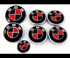 NEW 7pcs BMW Carbon Red Black Emblem 2x82,4x68, 45mm Full Set cover hood trunk a