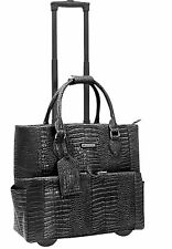 Cabrelli & CO Rolling Tote Carry on Wheeled Laptop Briefcase Black Croco