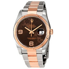 Rolex Oyster Perpetual Datejust Chocolate Floral Diamond Dial Steel and 18K
