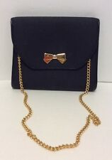 Nina Ricci Black Coated Canvas Trim Leather Gold Chain Shoulder Bag / Clutch