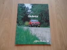 ALFA ROMEO GIULIETTA BROCHURE / PROSPEKT 1982