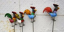 Recycled Metal Rooster Garden Stake Lawn Ornament Yard Decor