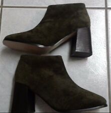 Newport News Women Leather Uppers Suede Olive Green Ankle Boot Sz 6.5 NWOB