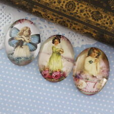 3x HUGE Glass Vintage Lovely Girl Oval Cameo Cabochon 30x40mm Group A