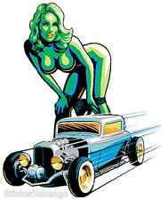 Hot Rod Girl Sticker Decal Poster Art Marco Almera MA8