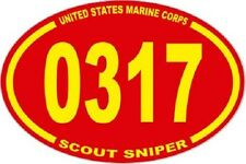 3 X 4.5 UNITED STATES MARINE CORPS USMC  0317 SCOUT SNIPER  OVAL EURO STICKER