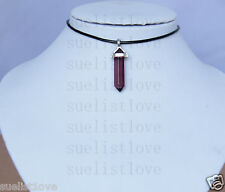 Charming fuchsia glass choker Necklace Pendant Gift with Genuine Leathe cord
