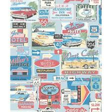GALERIE YOLO SUITCASE LUGGAGE PATTERN RETRO AMERICANA TRAVEL WALLPAPER ROLL R-B