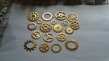 20  STEAMPUNK COGS AND GEARS GOLD  IN COLOUR SIZES  FROM 26mm 25mm AND DOWN