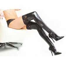 Thigh High Sexy Black Stockings/Hold UP's PVC Wet Look Faux Leather Fancy Dress