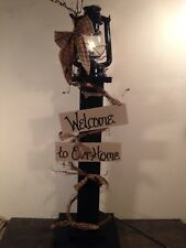 Country Primitive Metal Lantern And Stand Farmhouse Decor