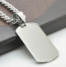 Men's 316 Silver Stainless Steel Dog Tag Pendant 7mm With Chain Necklace RP109