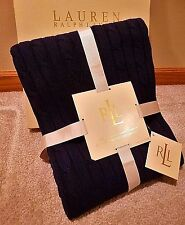 FREE Priority Ship * Ralph Lauren * NAVY BLUE * Cotton CABLE KNIT Throw Blanket