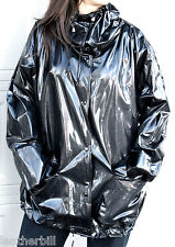 SHINY  BLACK  VINYL RAIN COAT JACKET XL -UNLINED with HIGH TIGHT NECK