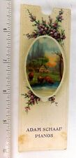 Lovely Violets & Scene Adam Schaaf Player Piano Bookmark Trade Card F49