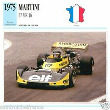 MARTINI F2 MK 16 1975 CAR VOITURE FRANCE CARTE CARD FICHE