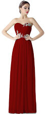 Burgundy Long Prom Evening Dress Formal Gown Bridesmaid Dresses US SZ 4